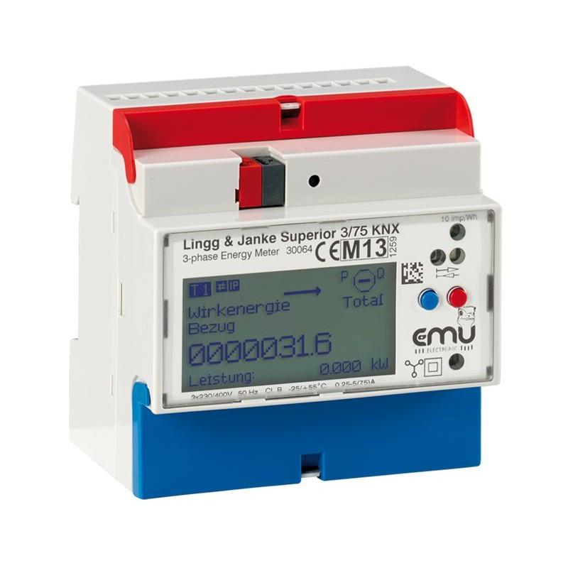 Module compteurs d'énergie 3 voies Supérieure (3-ph), 0,25-5(75) EZ-EMU-DSUP-D-REG-FW - KNX -  Lingg & Janke