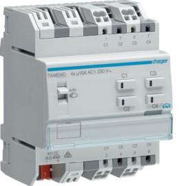 TXA604D - Mod. KNX 4 sorties 16A/230V~ charge capa/NE - Hager