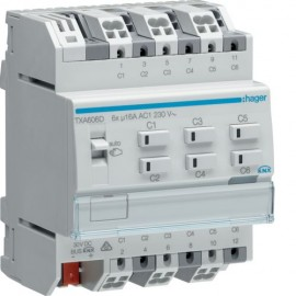 TXA606D - Module KNX 6 sorties 16A/230V~ charge capa/NE - Hager