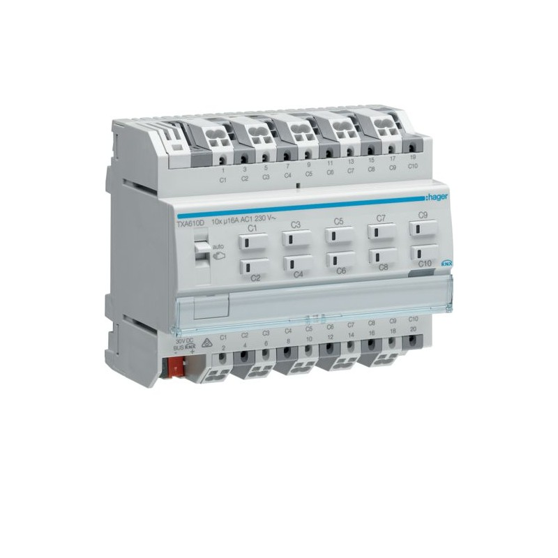 TXA610D - Mod. 10 sorties 16A/230V~ charge capa/NE - Hager