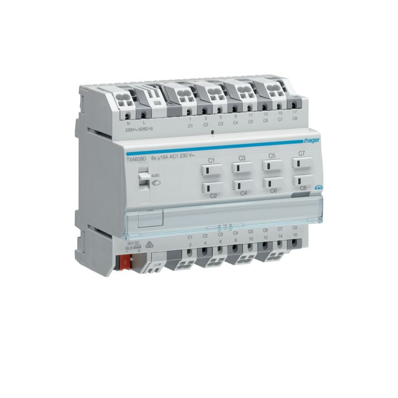 TXA608D - Module KNX 8 sorties 16A/230V~ adapte pour charges capacitives / New Easy - Hager