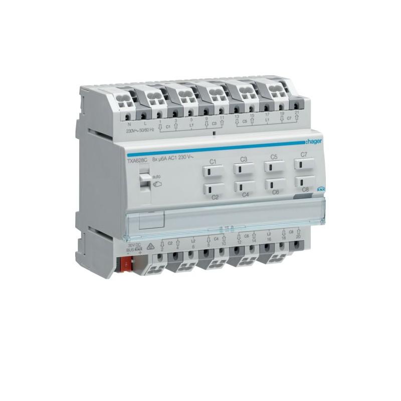 TXA628C - Module KNX 8 sorties volets/stores 230V~ /NE - Hager
