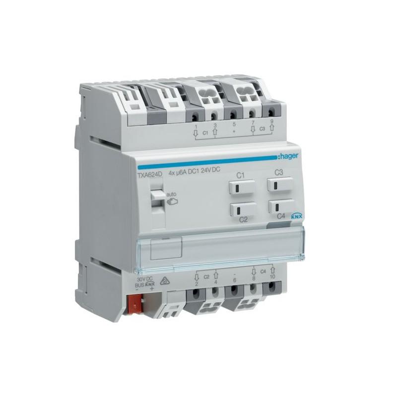 TXA624D - Module KNX 4 sorties volets/stores 24V DC /NE - Hager