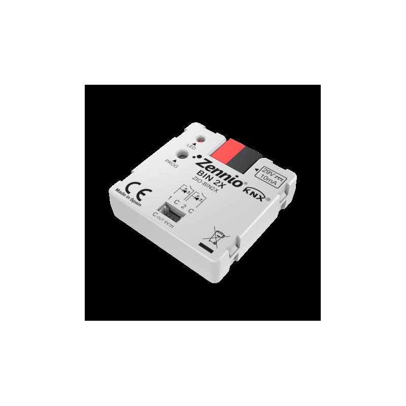 BIN 2X - Interface universelle avec 2 entrées binaires/sorties LED - Zennio - ZIO-BIN2X