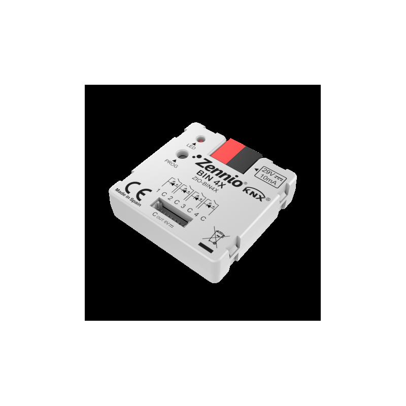 BIN 4X - Interface universelle avec 4 entrées binaires/sorties LED - Zennio - ZIO-BIN4X