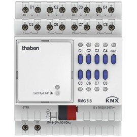 Actionneur 8 canaux 16A MIX2 - RMG 8 S KNX - Theben - 4930220