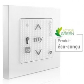 Point de commande Smoove RS100 io-homecontrol Blanc + Cadre - Somfy - 1800445