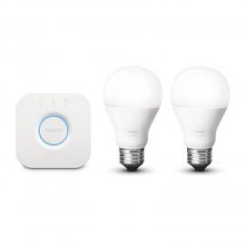 Kit de Démarrage LUX, Pont et 2 Ampoules LED connectées, lumière blanche, Pilotable via smartphone - Philips HUE