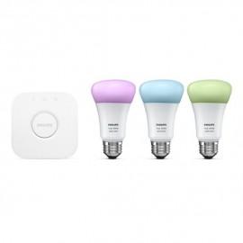 Kit de démarrage, Pont et 3 ampoules LED E27 9 W, lumière blanche et colorée, pilotable via smartphone - Philips HUE