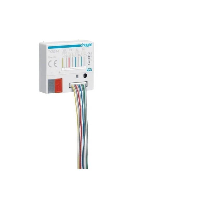 TXB344 - Module KNX 4 entrées à encastrer + 4 sorties LED - Hager