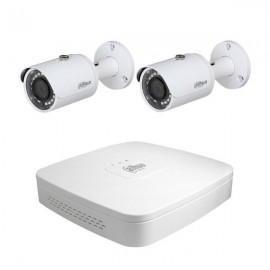 Kit vidéosurveillance NVR 4 PoE + 2 caméras Tubes IP 3MP - DAHUA