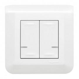 Commande double sans fil Mosaic with Netatmo éclairage ou prise ou micromodule - blanc - Legrand - 077724L