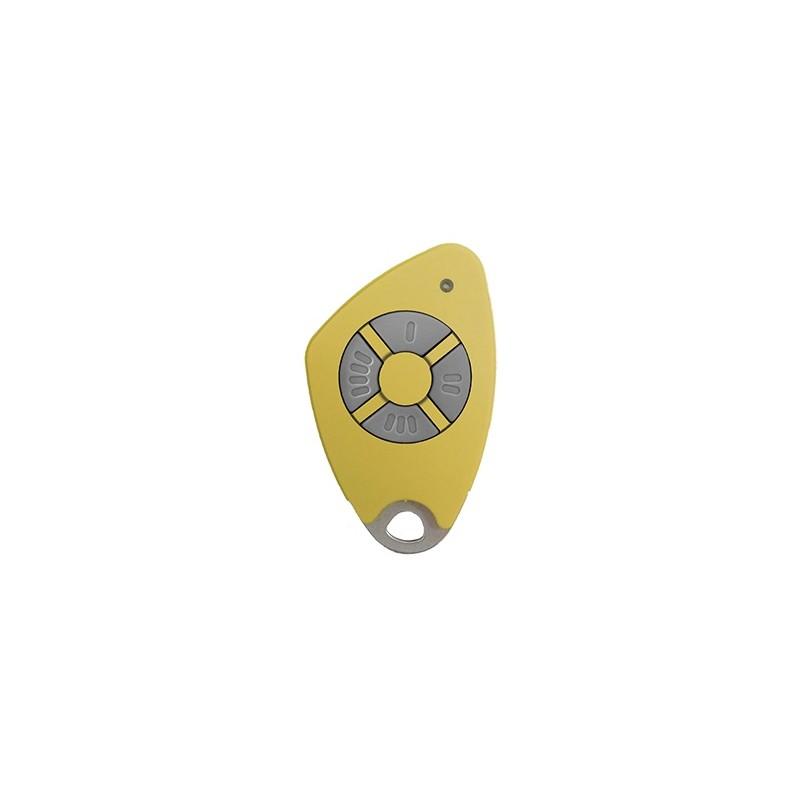 Télécommande 4 canaux bi-technologie - Radio / Mifare - Jaune - Intratone - 09-0118