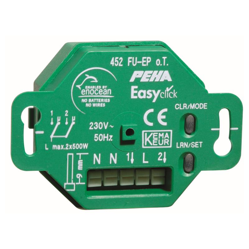 Récepteur encastré Easyclick Plus EnOcean, 2 canaux - Peha